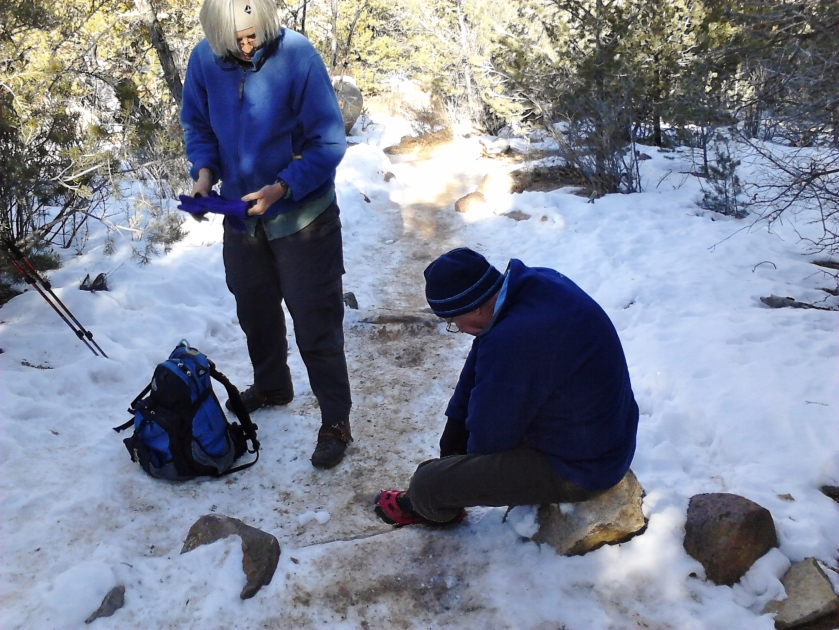 Reaching icy sections and stopping to put on YakTrax.