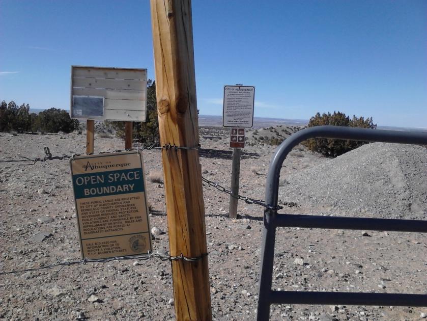 Gate to enter Las Huertas Open Space.