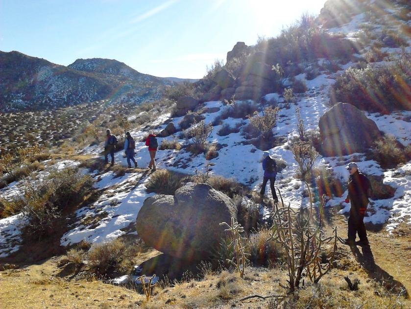 Trekking along around the foothills.