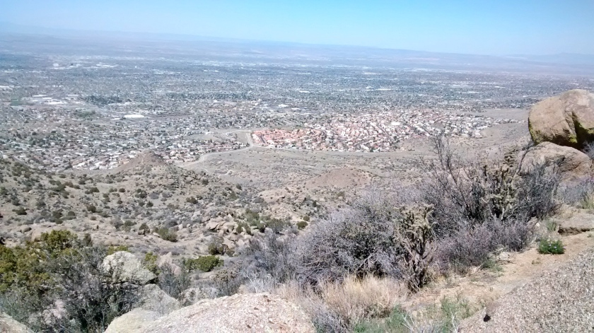 View looking down at Albuquerque from where we hiked up.