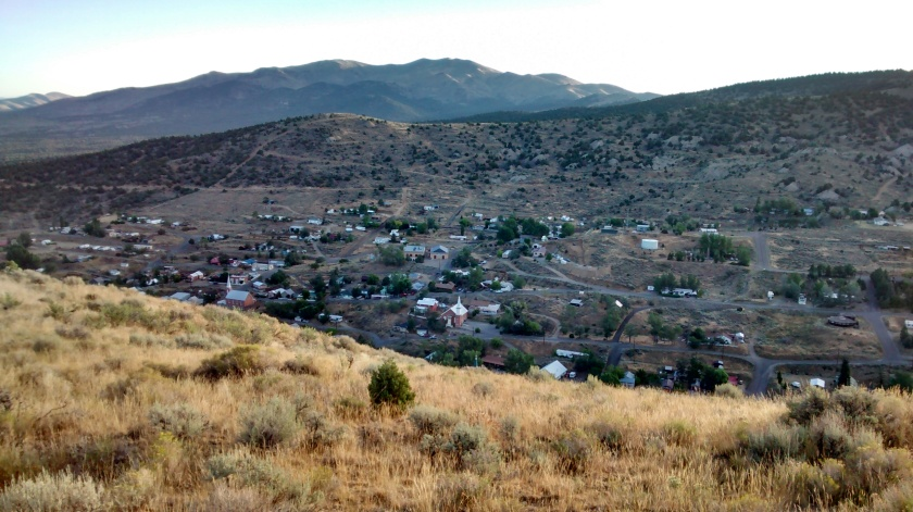 Early morning walk on hillside overlooking Austin, Nevada.