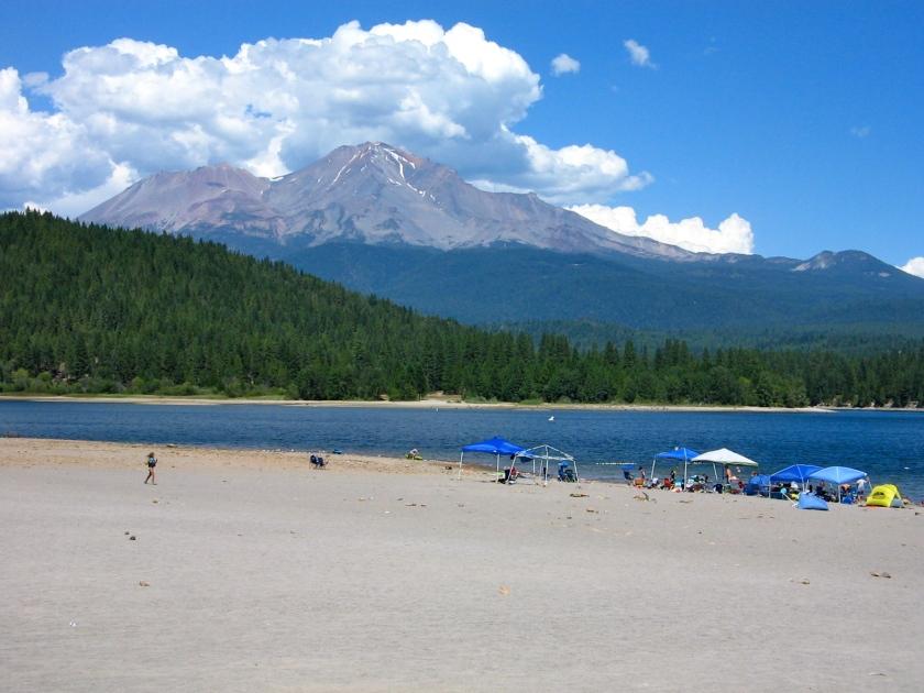Beach at Lake Siskiyou Resort.
