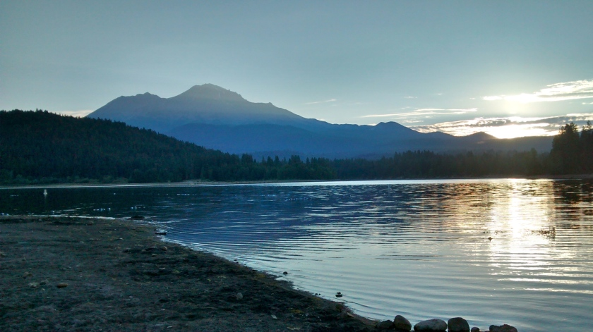 Sunrise at Lake Siskiyou beach.