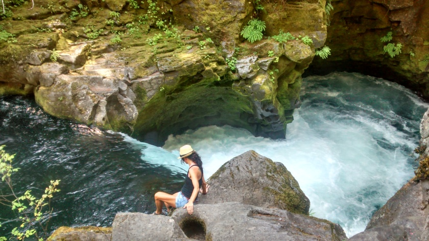 Trying to find a way to get to the pool at Toketee Falls.