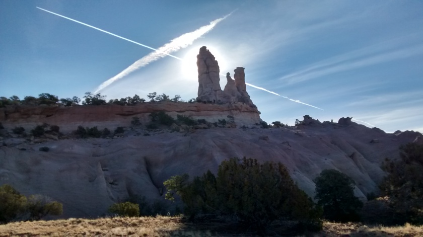 Side view of Church Rock with interesting light effects.