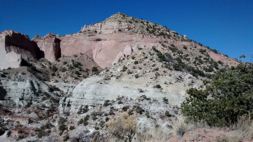 Approaching Pyramid Rock.  Unlike at Church Rock, the trail for Pyramid Rock leads to the summit of the formation.