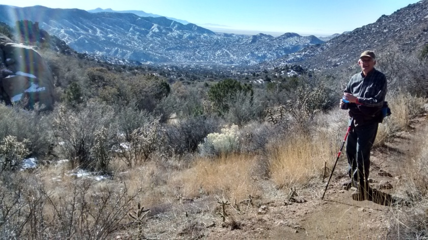 Looking south at snow on northern slopes of Manzanitos.