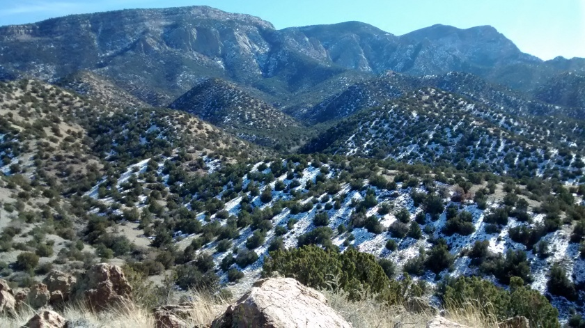 View of north crest of Sandias.