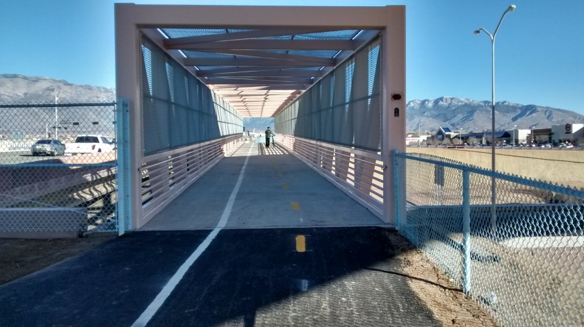 The bridge across I-25 on the bike path.