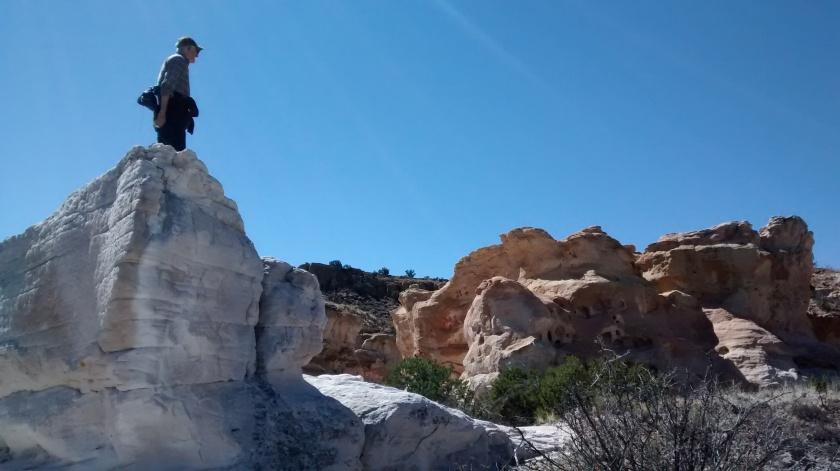 White gypsum and reddish sandstone.