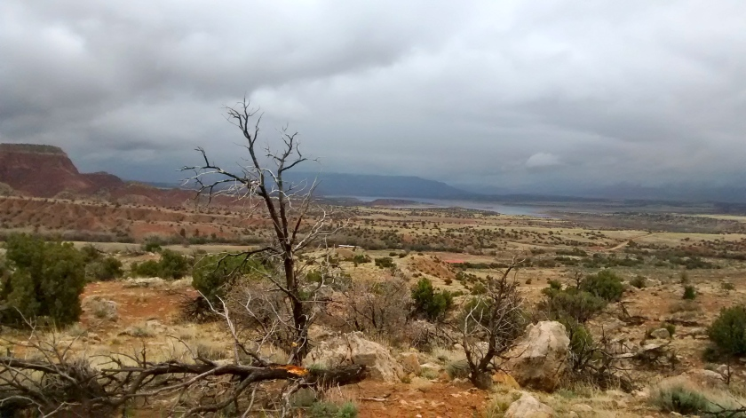 Looking southwest from Chimney Rock trail, Abiquiu Reservoir in the distance.