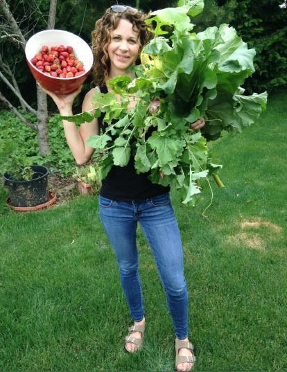 Freshly picked strawberries, rhubarb and turnips.  Yum!!