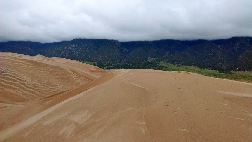 Cloudy day meant we missed the view of Sangre de Cristo Mountains as the backdrop to the dunes.