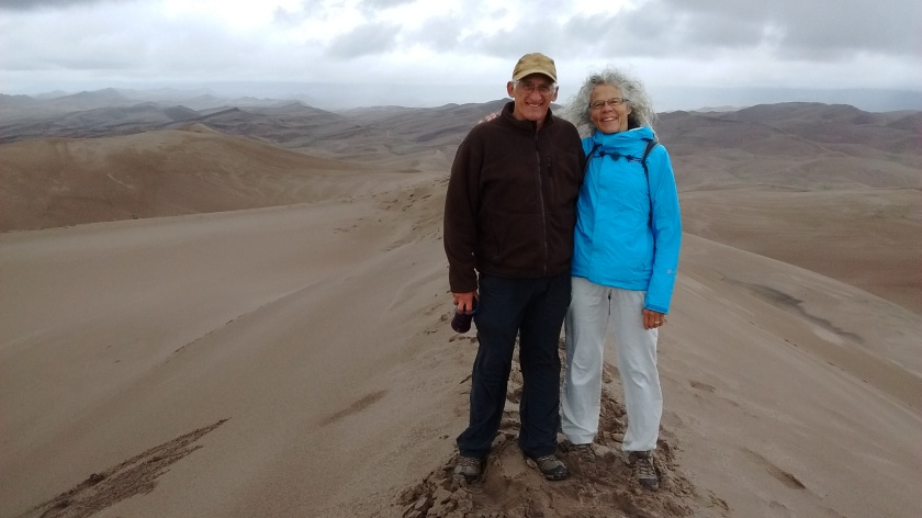 Tough hiking, but we made it to the top of the highest dune.