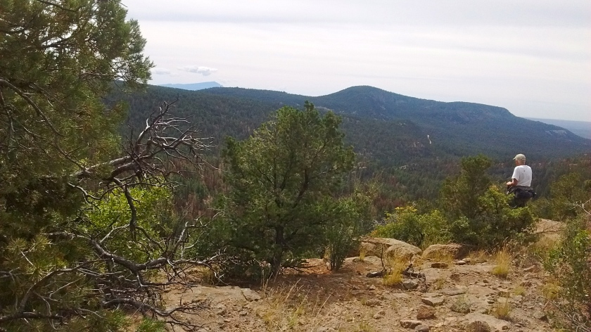 Ridgeline viewpoint looking over Paliza Canyon.  Sandia Mountains in far distance.