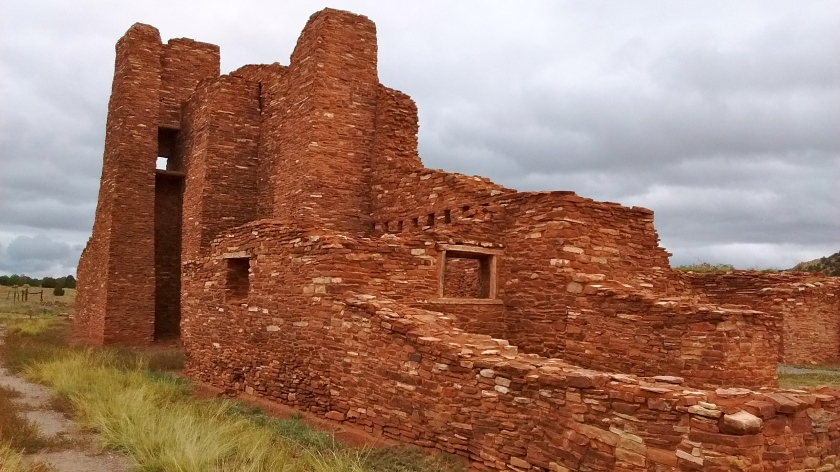 Ruins at Abo. This was a Catholic church built by Spanish priests who built a mission at the pueblo in the 1600s.
