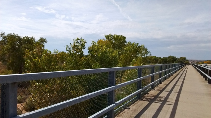 Bike trail parallel to Paseo del Norte that we use when crossing the Rio Grande.