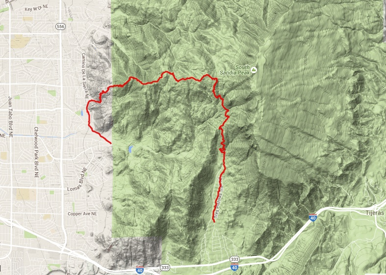 Map of hike on Three Gun Springs and Whitewash Trails.