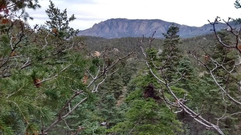 Getting high enough to see section of Sandia Crest with the radio towers.