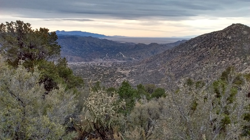 Our car is parked down there somewhere at the trailhead in Tijeras Canyon.