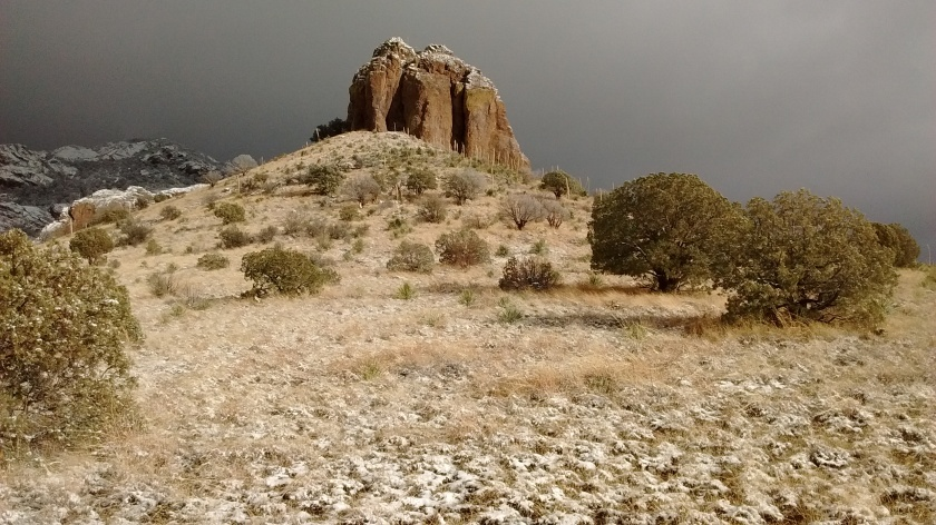 Not sure if this prominent rock has a name. We saw 3 people with a couple of dogs exploring the base.