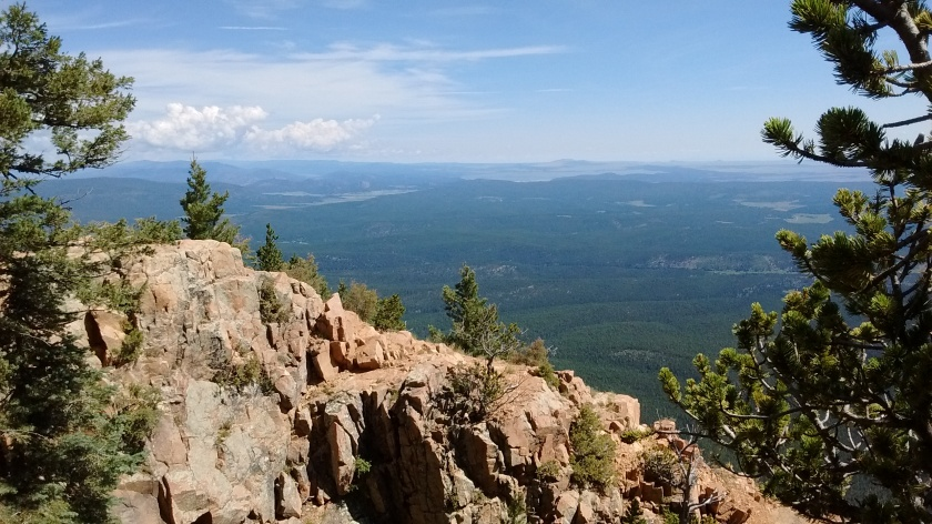 View from the top looking northeast to Pecos Wilderness.